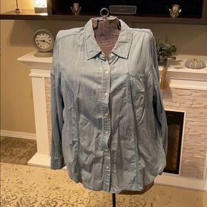 Macy's Chambray Blue Button Down Shirt 20 XXL 2XL